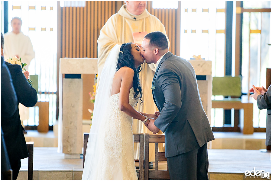 First kiss at All Hallows Catholic Church