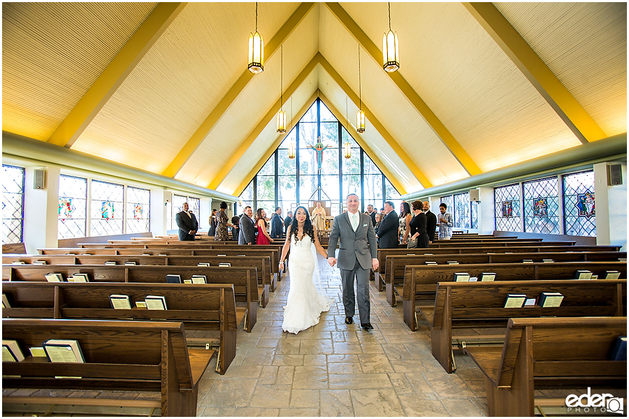 Wedding recessional at All Hallows Catholic Church