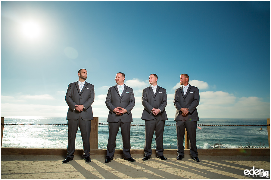Groomsmen photos at beach in La Jolla.