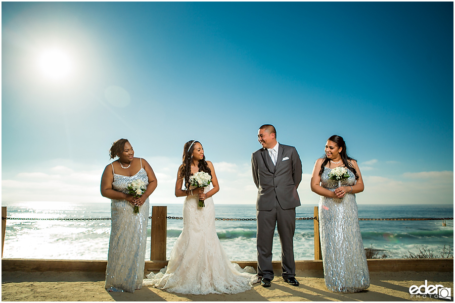 Bridal party photos in La Jolla California.