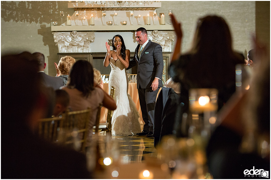 Bride and groom in Crystal Ballroom