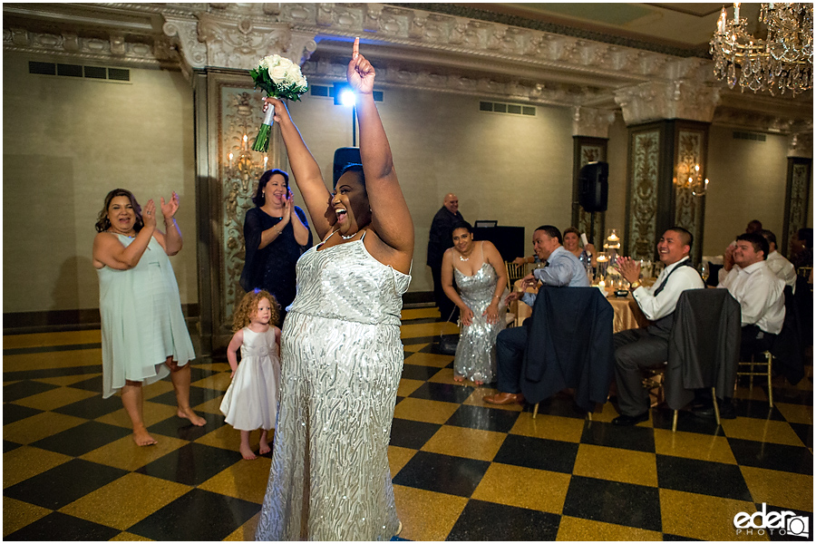 Bouquet toss Crystal Ballroom Wedding Reception