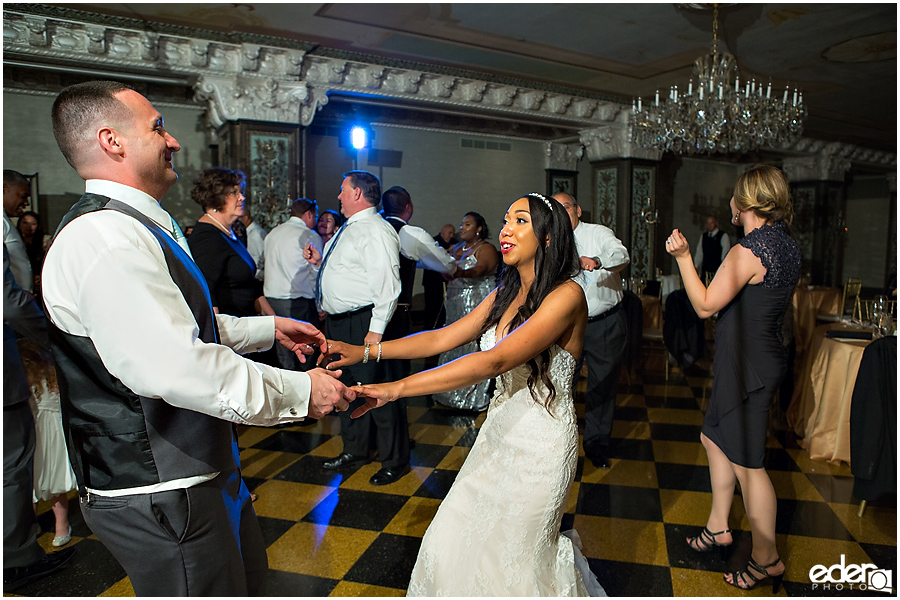 Bride and groom dancing Crystal Ballroom Wedding Reception