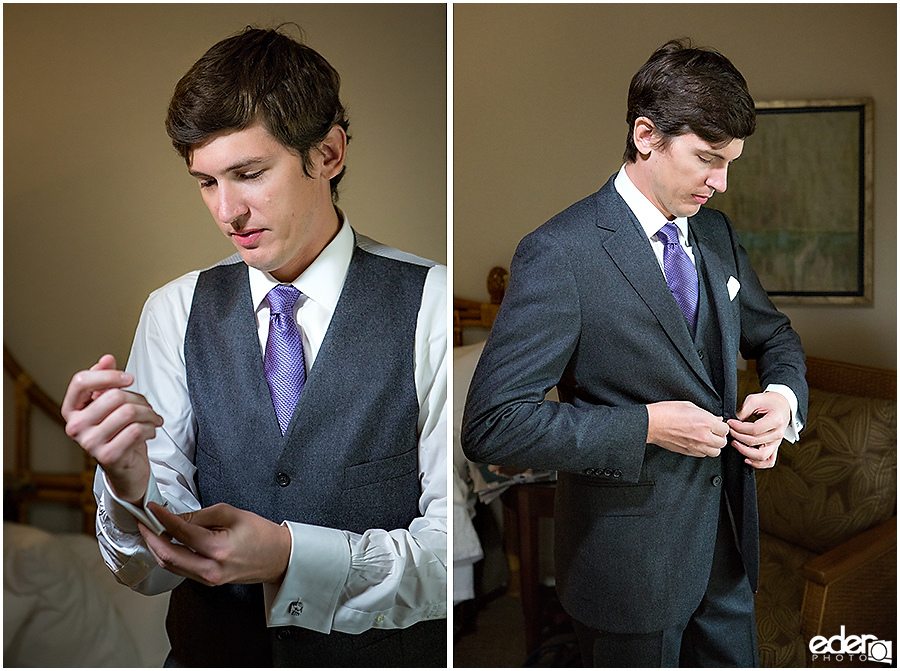 Groom getting ready for wedding.