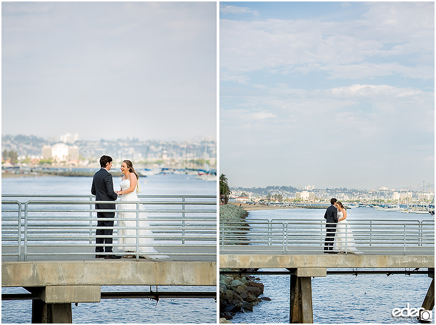Bride and groom at Shelter Island in San Diego.