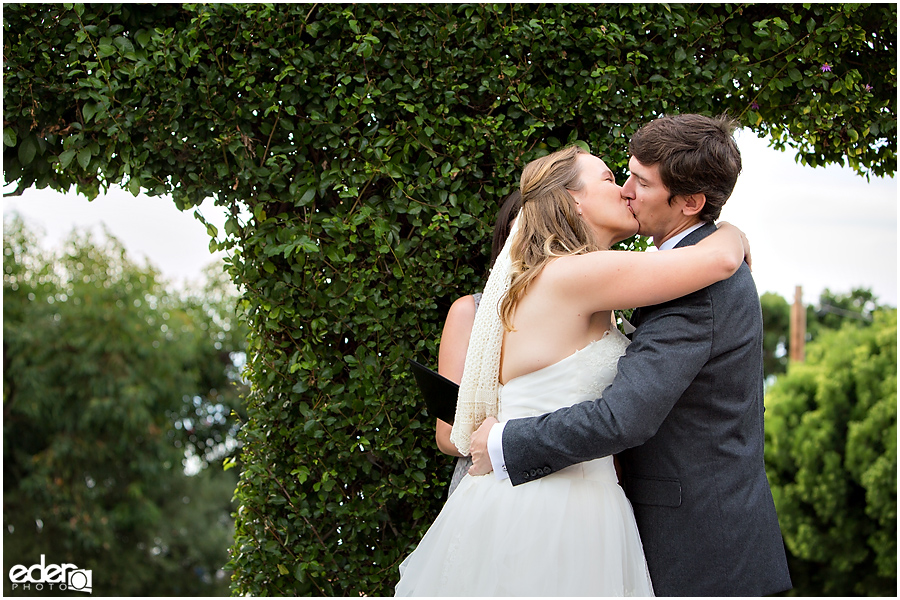 First Kiss at Thursday Club Wedding Ceremony