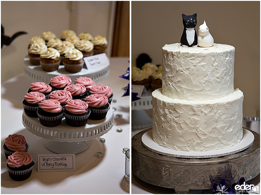 Cat and Bird Wedding Cake at Thursday Club Wedding.