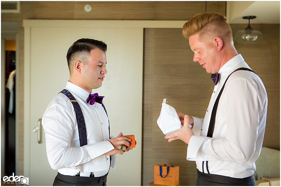 Grooms getting ready for wedding in La Jolla.