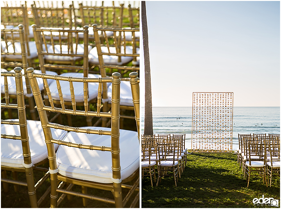 Ceremony decor for wedding at Scripps Seaside Forum.
