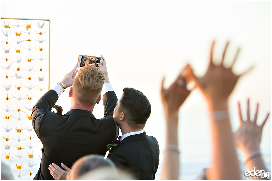 Selfie during wedding ceremony.