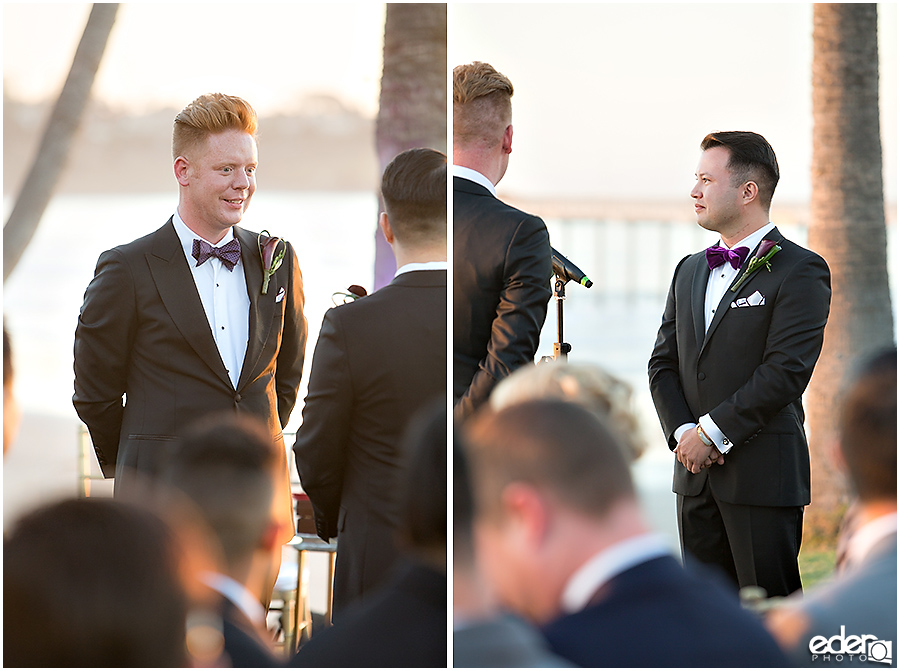 Grooms during ceremony at Scripps Seaside Forum.