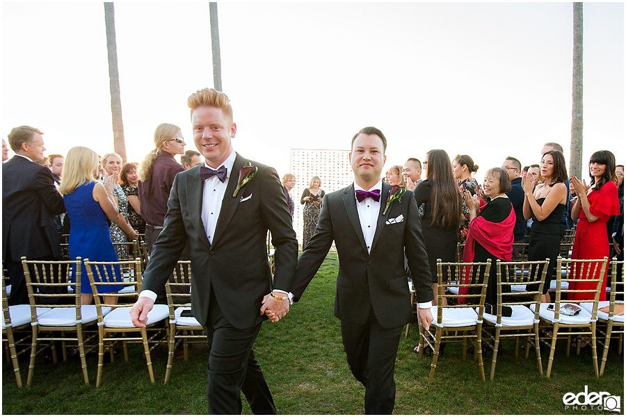 Gay wedding at Scripps Seaside Forum.