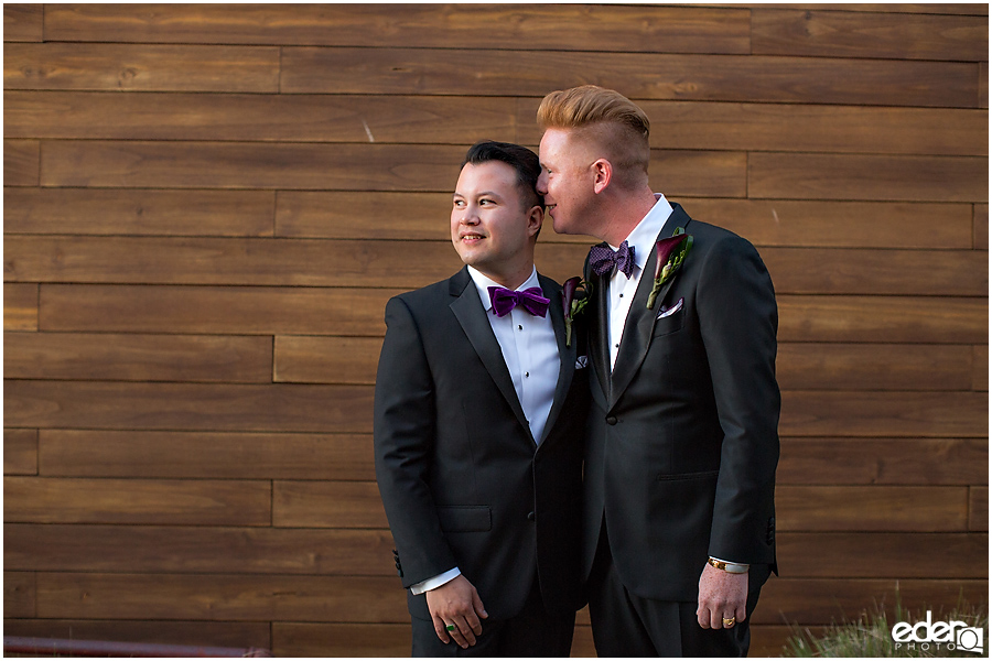 Two grooms at Scripps Seaside Forum.
