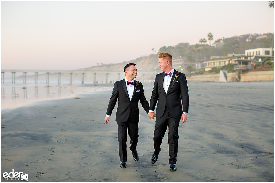 Gay wedding portraits in La Jolla.
