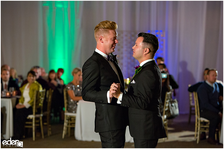 Scripps Seaside Forum first dance for gay wedding.