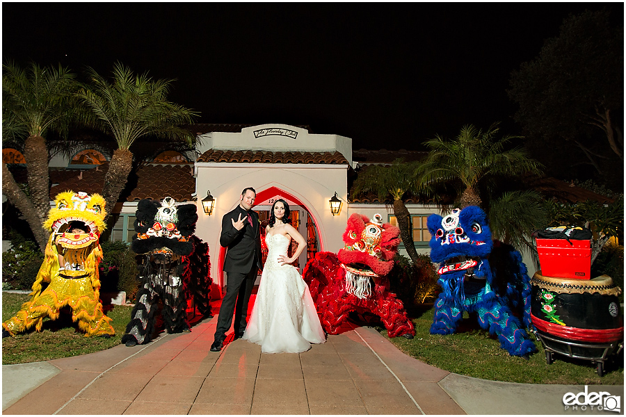 Bride and groom and dragon dancers