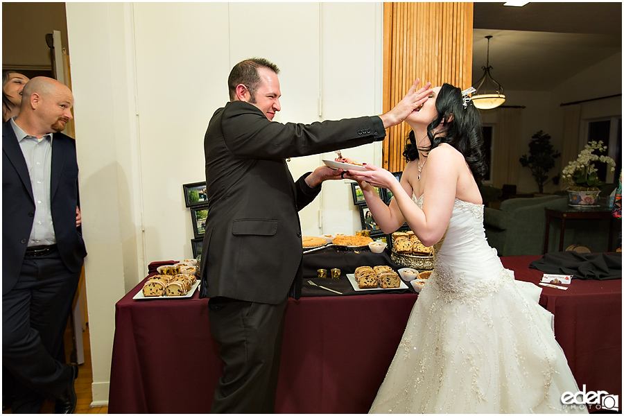 Pie cutting during wedding