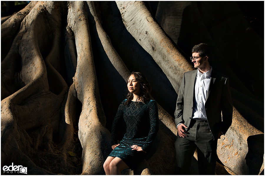 Portrait on Giant tree in Balboa Park