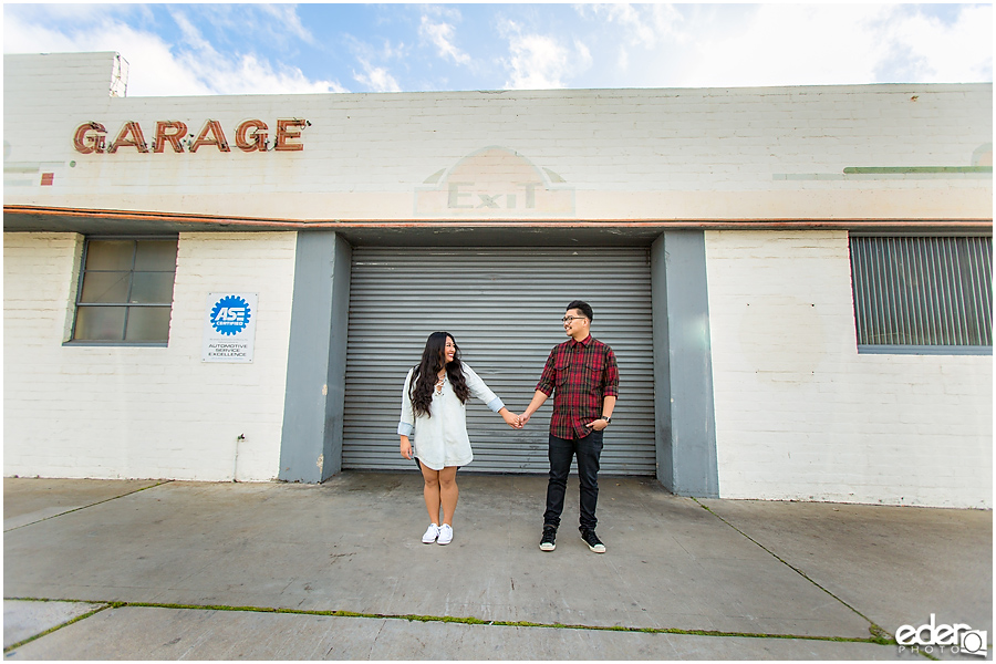 Coronado Engagement Session in front of garage