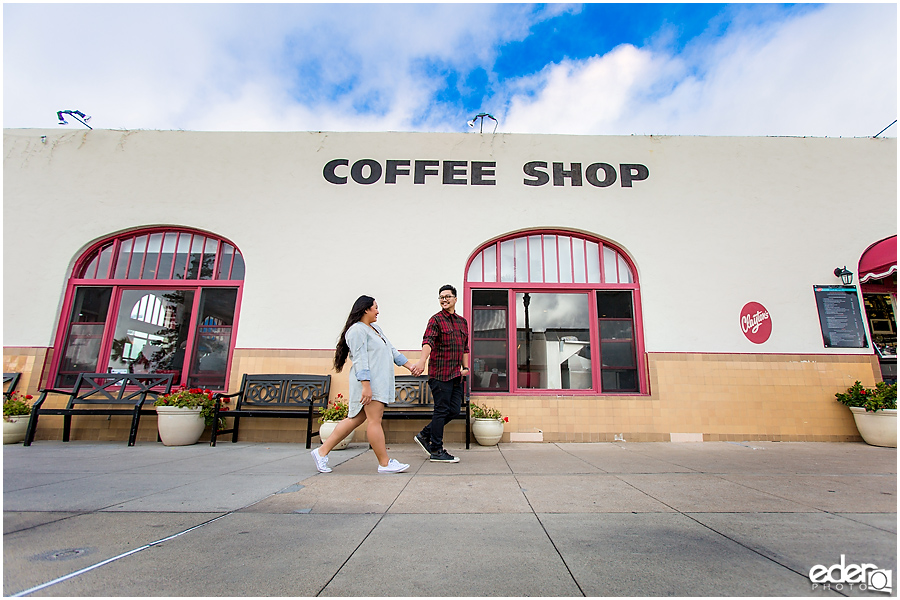 Coronado Coffee Shop Engagement Session Walking