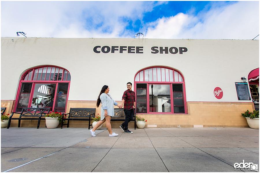Coronado Coffee Shop Engagement Session Walking