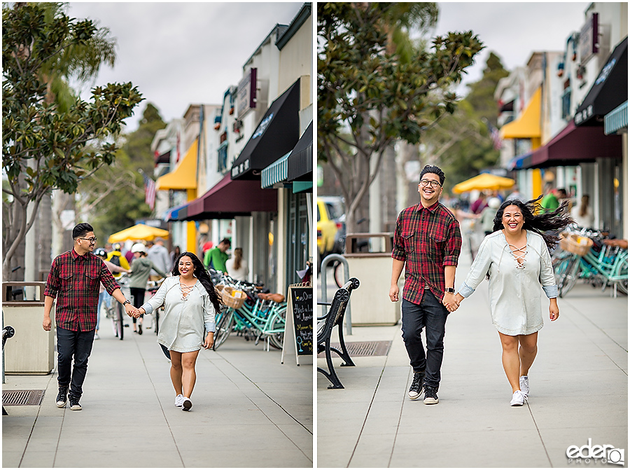 Walking down the street during Coronado Engagement Session.