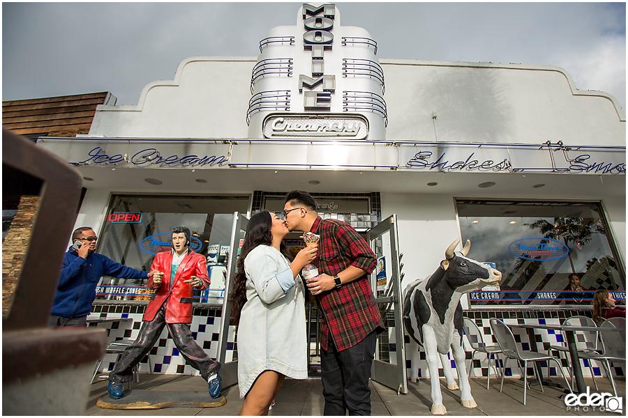Coronado Engagement Session at Mootime kissing