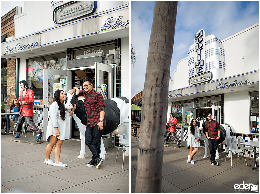 Coronado Engagement Session at Mootime with cow and Elvis