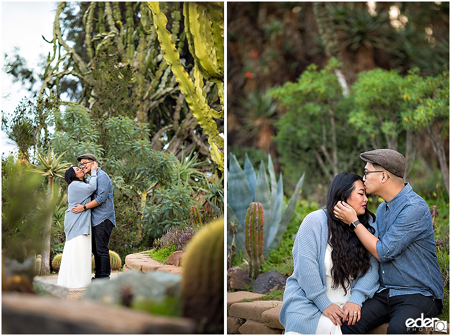 Balboa Park Engagement Session in Cactus Garden.
