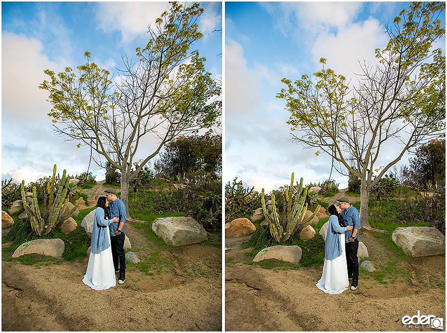 Balboa Park Engagement Session standing in Cactus Garden.