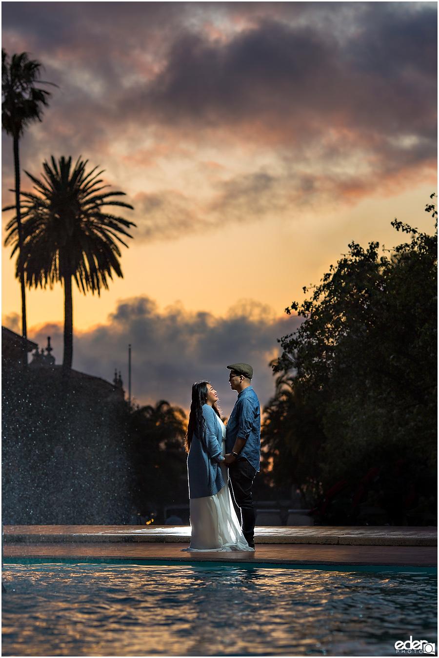Balboa Park sunset engagement session