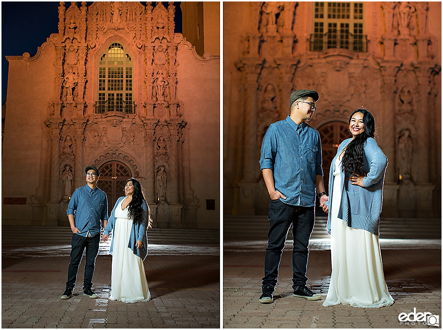Engagement session in front of Museum of Man.