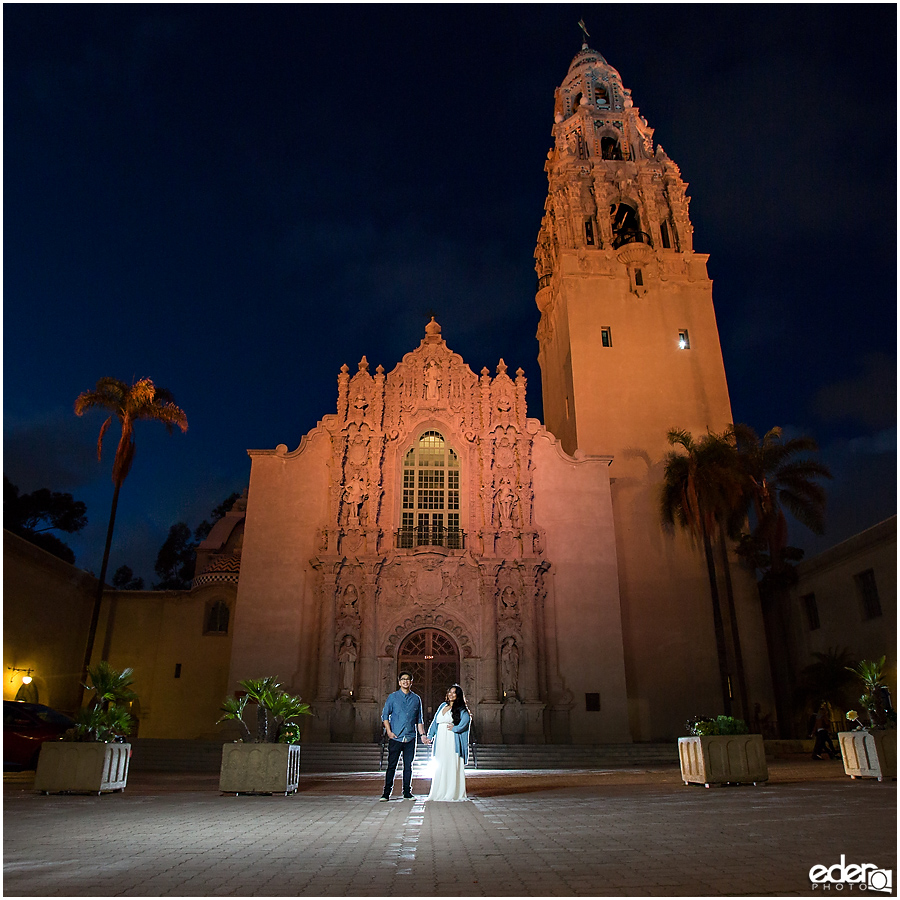 Engagement session in front of California Tower.