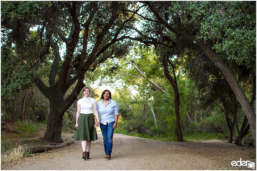 Walking engagement session photos