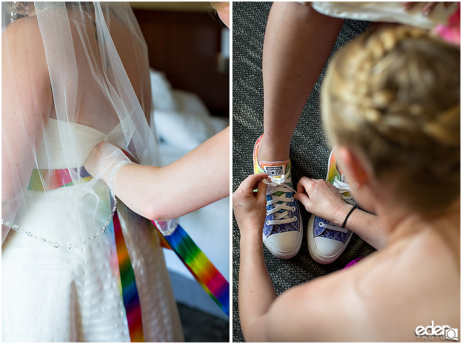 Rainbow wedding sash