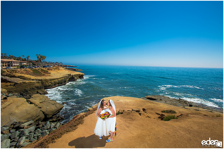 Two brides cliff side wedding