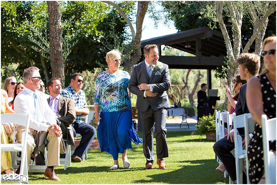 Rancho Bernardo Winery Wedding Wedding Ceremony groom and mom