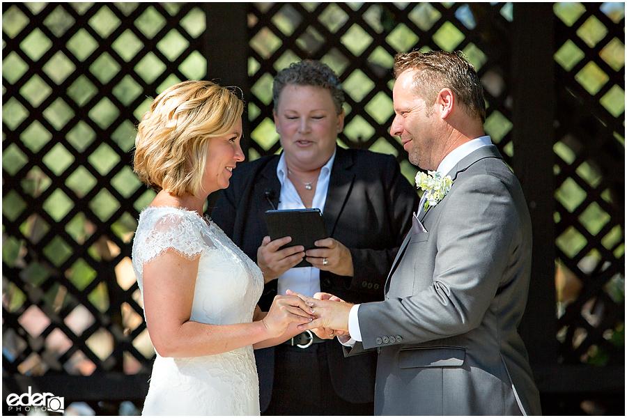 Rancho Bernardo Winery Wedding Wedding Ceremony rings exchanged
