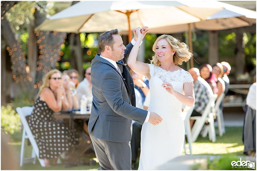 Rancho Bernardo Winery Wedding Reception first dance