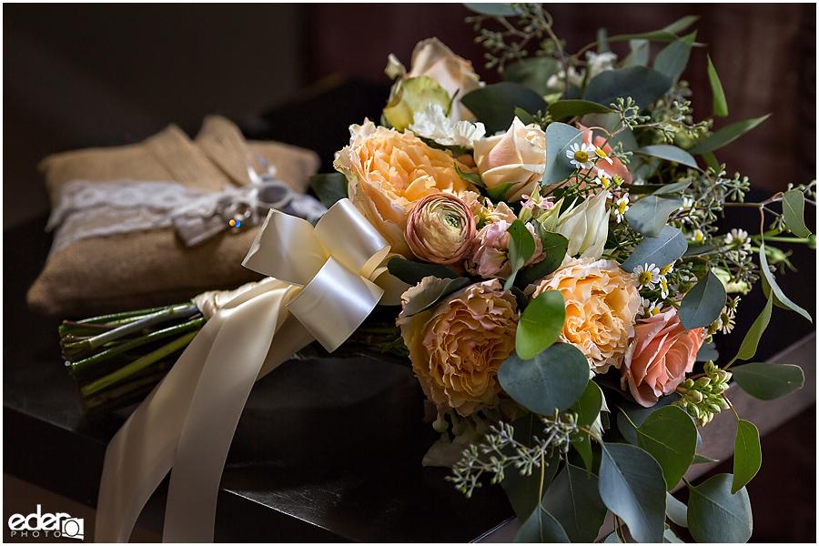 Orange wedding bouquet.