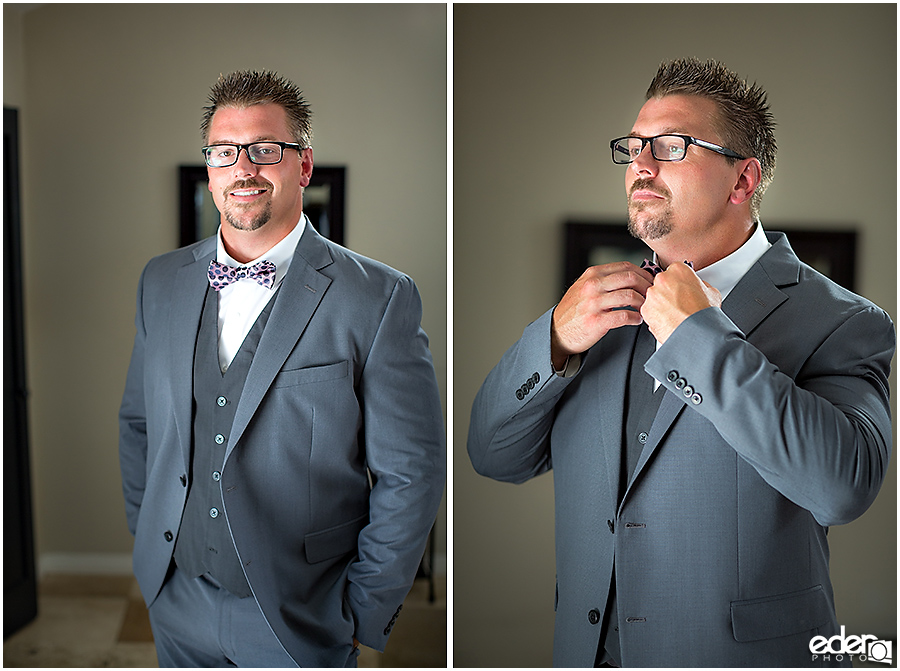 Groom Portraits for pool wedding.