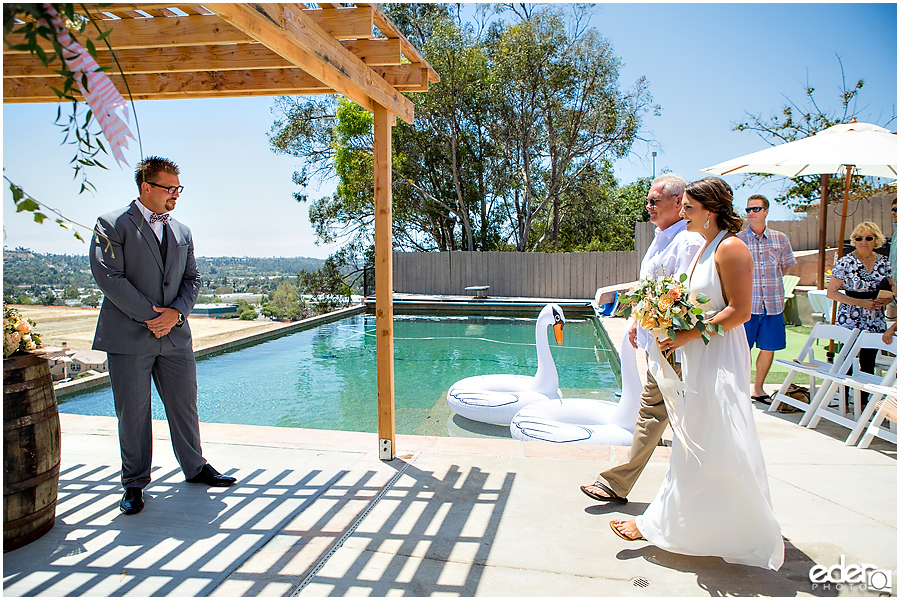Pool wedding ceremony.