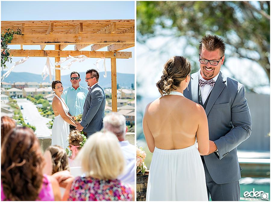 Pool wedding ceremony vows.
