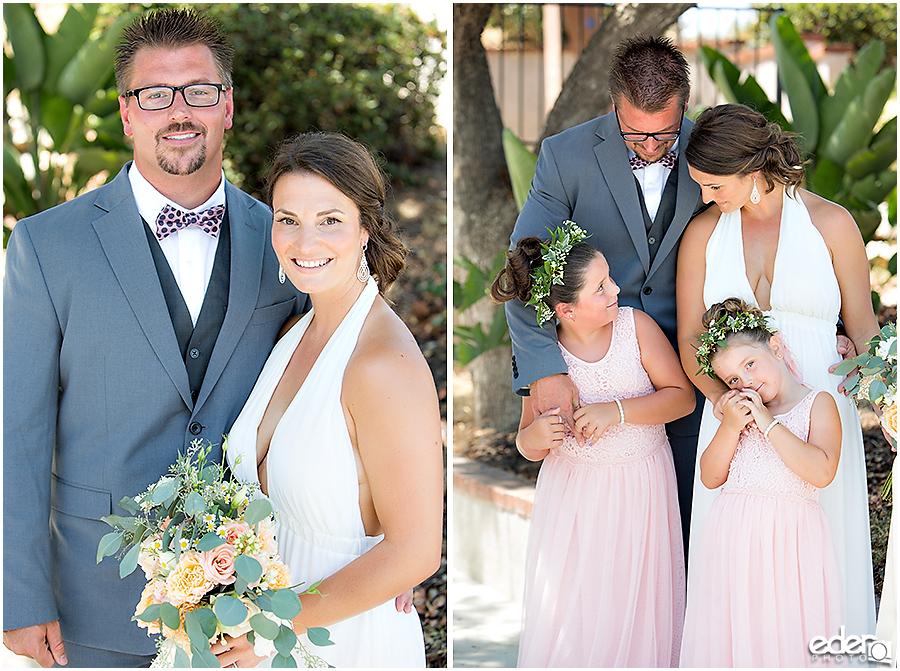 Pool wedding ceremony family photos.