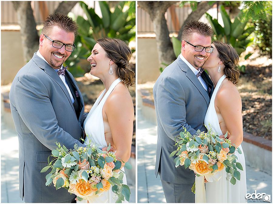 Pool wedding couple portraits.
