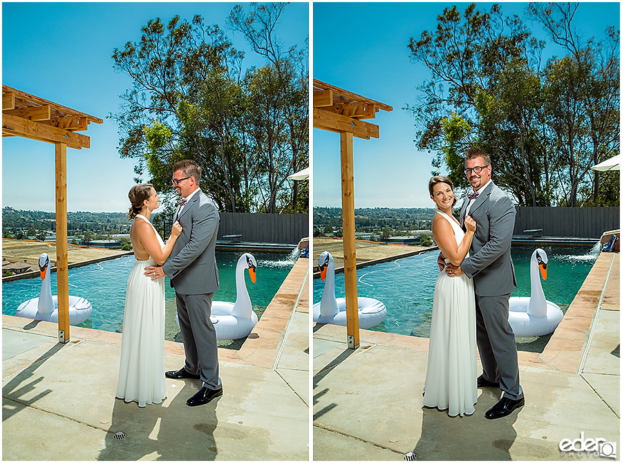 Pool wedding couple portraits.