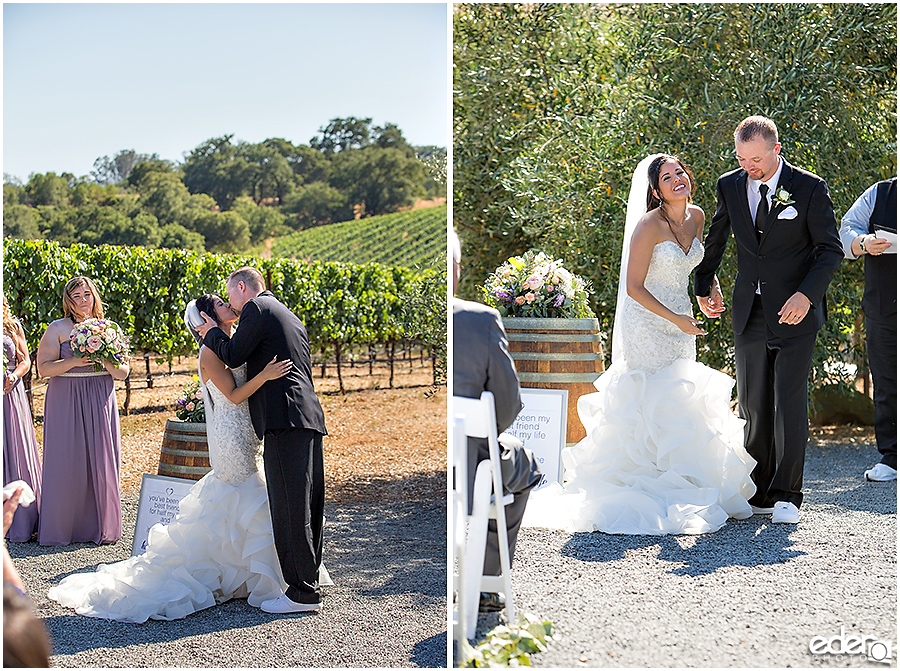 Vineyard Wedding Ceremony kiss