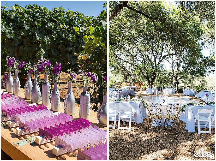 Vineyard Wedding reception details.
