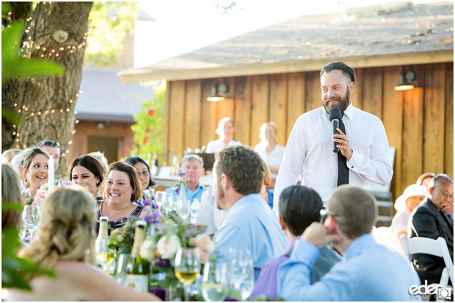 Vineyard Wedding reception toasts.