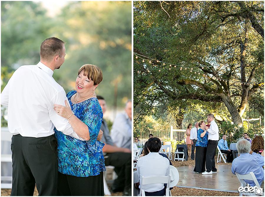 Vineyard Wedding groom and mom dancing.